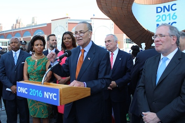 Senator Charles Schumer led a press conference Monday outside of the Barclays Center to welcome the members of the Democratic National Committee who are touring the city over the next two days to determine if Brooklyn should host the 2016 presidential convention.