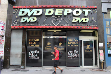 The former DVD Depot space is now being marketed by landlord Thor Equities.