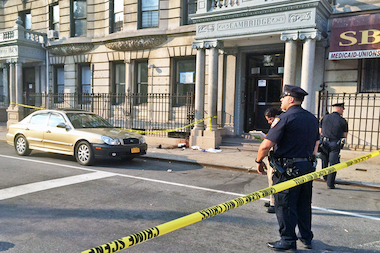 A man died after he was stabbed in the neck at East 124th Street and Madison Avenue Friday afternoon, Aug. 8, 2014.