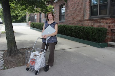Leave No Footprint owner Christina Haas, pictured here after a pickup, wants to help New Yorkers properly dispose of items such as batteries and old electronics.
