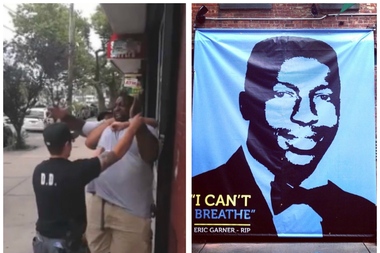 "The memorial shows a picture of alleged homicide victim Eric Garner with the words ""I can't breathe."""