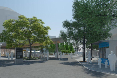 Renovations at Fordham Plaza will include kiosks for future vendors and a new canopy over the Metro-North entrance.