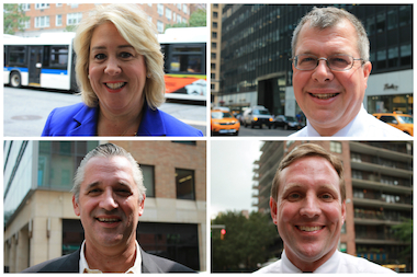 The four Democratic candidates running for the 76th Assembly District seat, clockwise from the top left: Rebecca Seawright, David Menegon, Ed Hartzog and Gus Christensen.