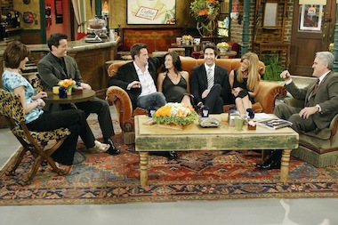 "The cast of ""Friends"" — actors Lisa Kudrow, Matt LeBlanc, Matthew Perry, Courteney Cox-Arquette, David Schwimmer and Jennifer Aniston — sat down with Jay Leno for a special ""Tonight Show"" on the set of Central Perk on May 6, 2004 in Los Angeles, California."