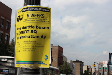 The MTA has been running a free shuttle between Lorimer Street and Court Square during a five-week G train shutdown.