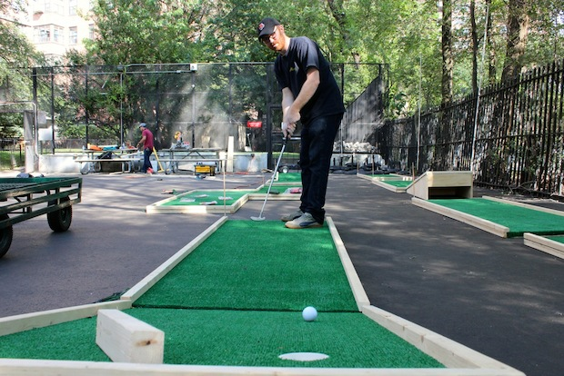 Hester Street Fair continued to build and test out its new mini-golf course on Aug. 7, 2014 at its location on Hester and Essex streets.