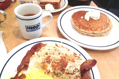 Eggs, bacon and pancakes at IHOP, which reopened Monday on Northern Boulevard.