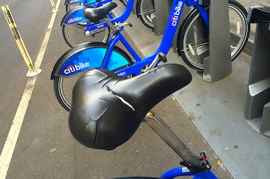 The majority of Citi Bikes docked in FiDI and Battery Park City seem to have cracked seats.
