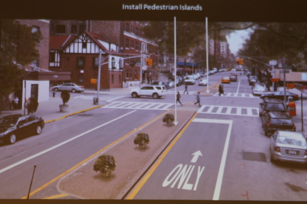 The DOT proposed reducing the lanes along West End Avenue and adding four pedestrian islands at West 95th Street and West 97th Street.