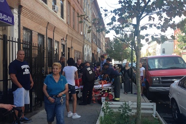 A man riding his bike in Bushwick was hit by a car Wednesday afternoon.