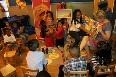 Children in Mott Haven enjoy their new reading corner.
