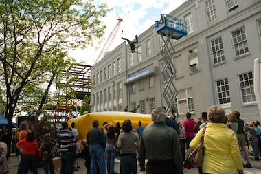 "A professional stunt performer demonstrates a high fall during the first ""New York on Location"" event that took place May 20, 2007."