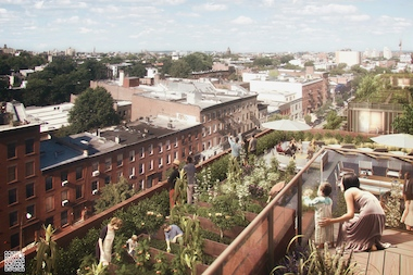 A rendering of the view from the rooftop of 535 Carlton Ave., an all-affordable rental building in Pacific Park/Atlantic Yards.