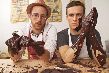 Nate Hodge, head chocolate maker, and Ryan Cheney, the founder of Raaka Chocolate, which is moving its production facility to Red Hook next month.