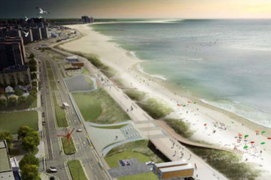 "The plan to spell out ""ROCKAWAY"" on the boardwalk won't include the R at first — it's being built later. This rendering shows the ""W"" integrated into the design."