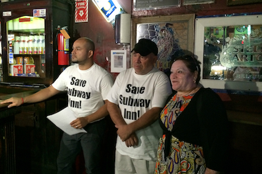 The Salinas Family: Steven (left), Arsemio and Patricia at a press conference at Subway Inn on Aug. 19, 2014.