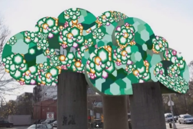 Installation artist Dave Eppley hopes to decorate the Flatbush Avenue tree sculpture with colored vinyl.