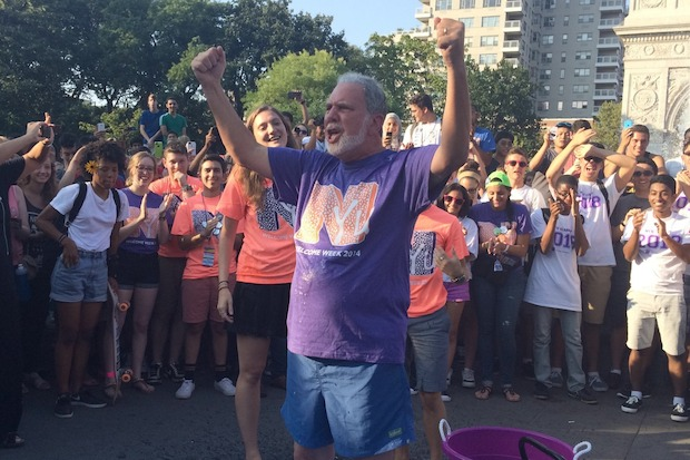 NYU President John Sexton did the ice bucket challenge in Washington Square Park.