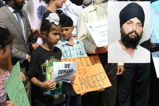 Sandeep Singh was run over by a truck after the driver used racial slurs, his family said.