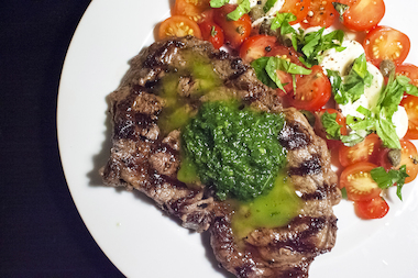 This steak with mint-basil pesto is perfect for Labor Day.