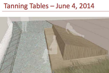 The tanning tables would be installed at a sloped portion of the boardwalk.