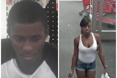 Police are looking for these two people, who they said used nine fake $100 bills to buy electronics from a Staten Island Target last month.