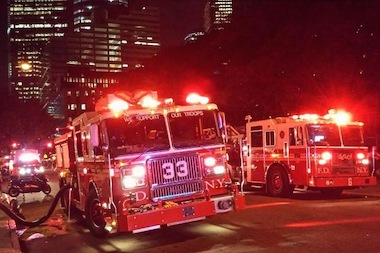 Eight people were hurt when a fire broke out at Independence Plaza North on Sunday, Aug. 10, 2014, the FDNY said.
