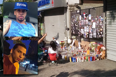Mourners gathered to remember Francisco Mercedez, top, and Kenny Jimenez, bottom, who were killed outside a Hamilton Heights bodega, police said.