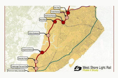 Staten Island elected officials called on Mayor Bill de Blasio to add $5 to $7 million to the budget to study the proposed West Shore Light Rail.