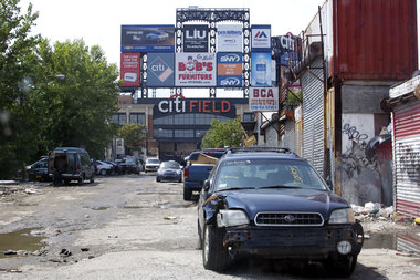 A view from Willets Point, where many businesses are still in operation.