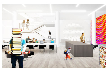 The renovated Woodstock Library will contain an expanded children's center with a story hour.