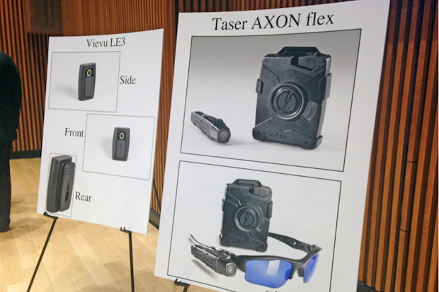 Police Comissioner Bill Bratton announced a pilot program at One Police Plaza Thursday where 60 officers will volunteer to wear body cameras, Sept. 4, 2014.