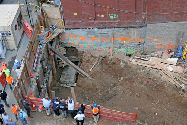 A construction worker was killed when a concrete slab fell on him at 326 W. 37th Street Tuesday afternoon.
