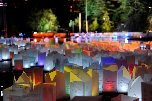 The lanterns, holding messages of peace and inspiration, will float in the reflecting pool at Lincoln Center this Sunday.