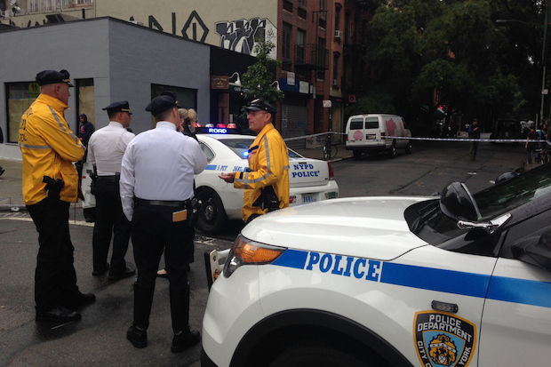 A party rental van struck and killed an elderly woman in Nolita Thursday afternoon, witnesses and police said.