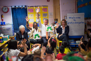 Mayor Bill de Blasio, First Lady Chirlane McCray, Schools Chancellor Carmen Fariña and Queens Borough President Melinda Katz visit Home Sweet Home Children's School in Queens during the first-day-of-school five-borough tour on Sept. 4, 2014.