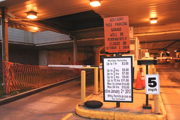 The parking garage was shut down a week before it was scheduled to close.