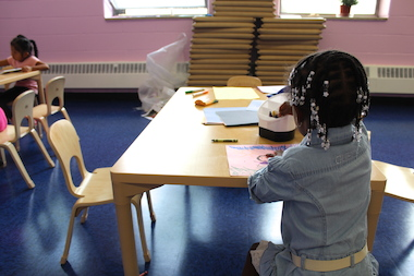 A student at a new pre-k site in Brooklyn's District 15.