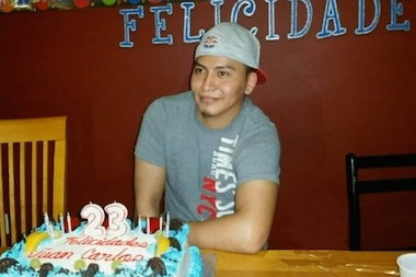 Juan Carlos Luna-Juarez at his 23rd birthday, weeks before he was fatally stabbed during a botched cellphone robbery in Bedford-Stuyvesant on Sept. 7. His former co-workers at the Lincoln Park Tavern in Prospect-Lefferts Gardens are raising money to cover his funeral costs and medical bills for his brother, who survived the attack.