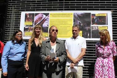 Manhattan Borough President Gale Brewer and Councilwoman Rosie Mendez stood with tenants during a press conference at 170-174 E. Second St. on Sept. 4, 2014.