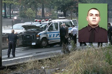 Michael Williams (inset) was thrown from an NYPD van when it crashed in Hunts Point, police said.