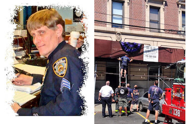 Sgt. Paul Ferrara had worked at the 110th Precinct in Elmhurst since 2006. His colleagues and firefighters hung bunting on the precinct to memorialize him after he died Aug. 28, 2014.