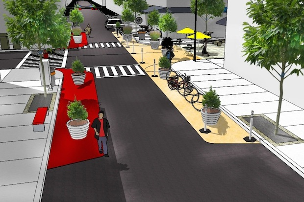 The Lower East Side Business Improvement District unveiled a proposed redesign of Orchard Street on Sept. 4, 2014 at a Community Board 3 transportation committee meeting.