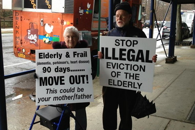 Seniors and their families held a rally protesting the abrupt closure of Prospect Park Residence in 2014. Now the facility's owner, Haysha Deitsch, is planning to build a high-rise on Fourth Ave.