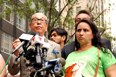 Sandra Amezquita stood alongside her attorney Sanford Rubenstein in front of 350 Jay St. Tuesday afternoon.