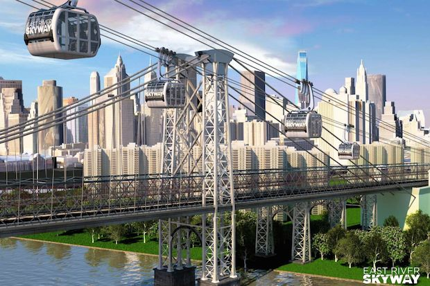 Dan Levy of real estate site CityRealty wants to use trams to connect Brooklyn, Queens and Manhattan.