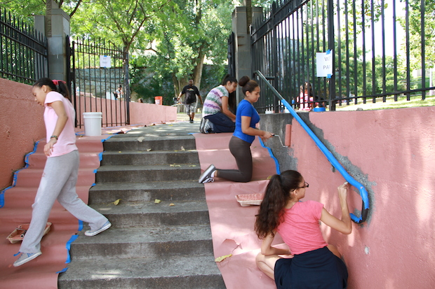 The Renaissance Youth Center painted Unity Park in August, but the Parks Department recently painted over their work.