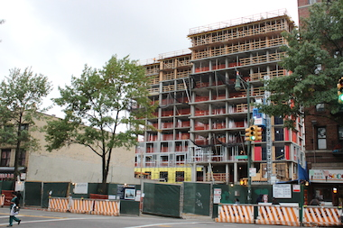 About 10 stories have been constructed already at 626 Flatbush Ave. in Prospect-Lefferts Gardens, which will ultimately be 23 stories tall, according to building plans.