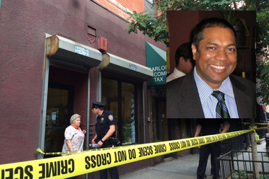Khemraj Singh, inset, was found dead in the bathtub at his apartment in Hell's Kitchen, police said.
