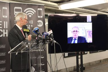 Bill Wheeler, head of planning for the MTA, at a press conference at the Court Square subway station on Oct. 16, 2014. Officials launched wireless service at 40 more underground subway stations.